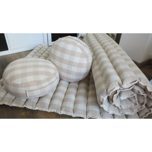 pohanková žíněnka-futon kanafas režná/smetanová/béžová 80 x 200cm