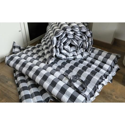 pohanková žíněnka-futon 70 x 200cm černobílá kostka