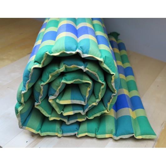 pohanková žíněnka-futon 100 x 200cm šapitó kostka modrozelená a žlutá