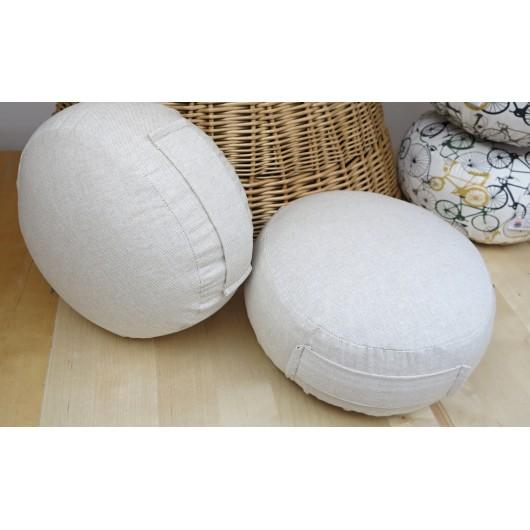 zafu - pohankový sedák - meditační polštář režný  průměr 30cm, výška 15cm