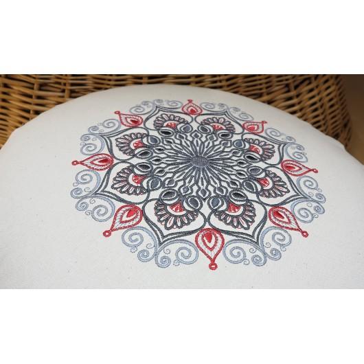 zafu - pohankový sedák - meditační polštář režný s vyšívanou mandalou došeda 40cm