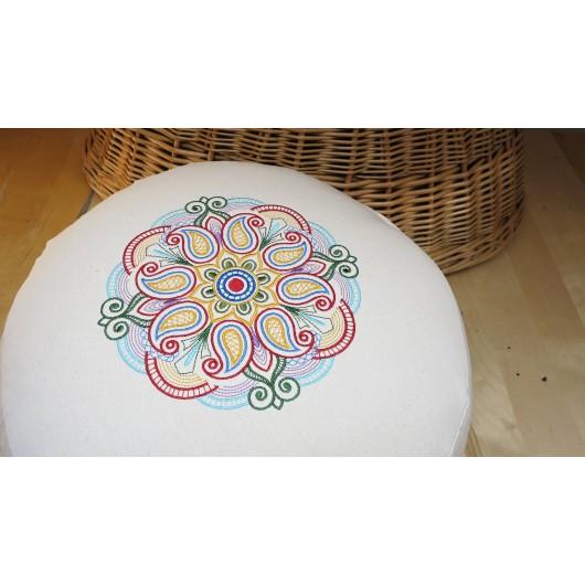 zafu - pohankový sedák - meditační polštář režný s vyšívanou mandalou blankytný domodra 40cm