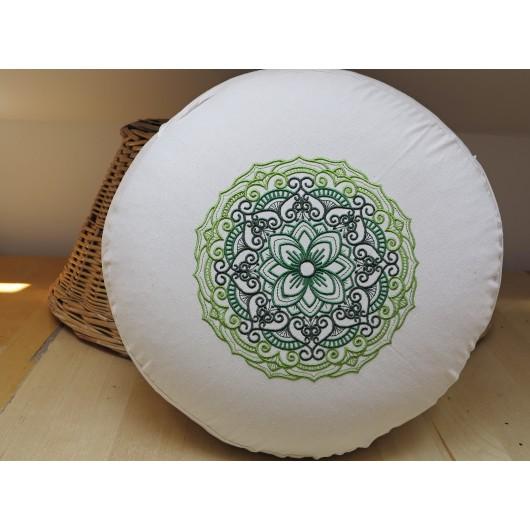 zafu - pohankový sedák - meditační polštář režný s vyšívanou mandalou dozelena 40cm