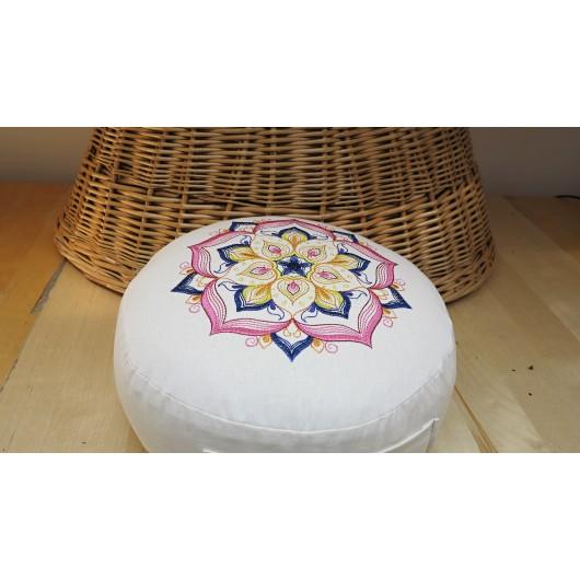 zafu - pohankový sedák - meditační polštář režný s vyšívanou mandalou růžová-modrá30cm