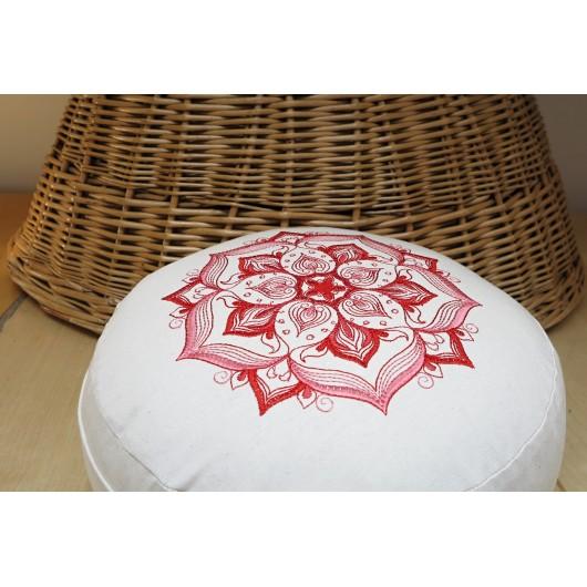 zafu - pohankový sedák - meditační polštář režný s vyšívanou mandalou červená-růžová 30cm