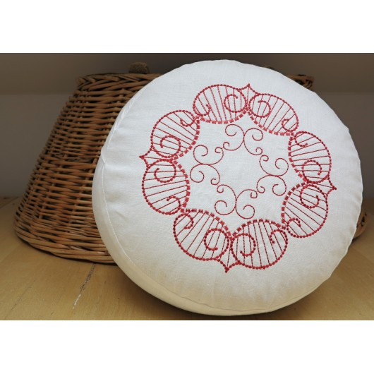 zafu - pohankový sedák - meditační polštář bílý len , červeně vyšívaný, průměr 30cm