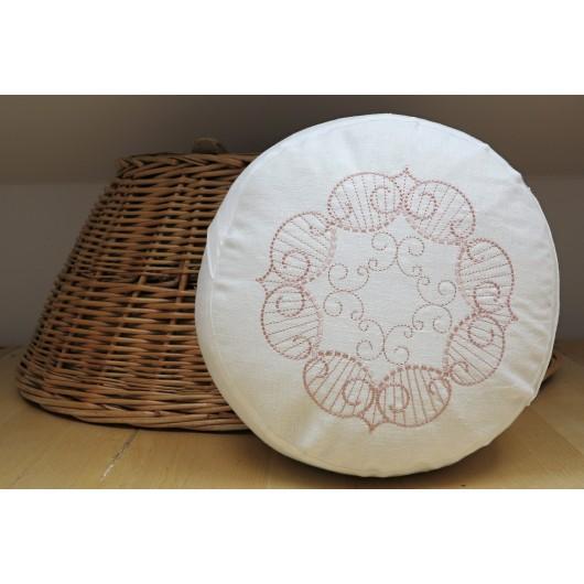 zafu - pohankový sedák - meditační polštář bílý len, světle růžovou vyšívaný, průměr 30cm