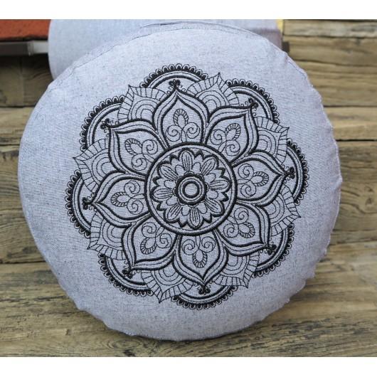 zafu - pohankový sedák - meditační polštář šedý, tmavé modrá/sytá růžová,  vyšívaný, průměr 30cm