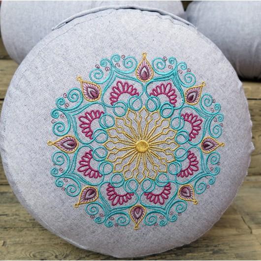 zafu - pohankový sedák - meditační polštář šedý, modrá/sytá růžová/zlatá,  vyšívaný, průměr 30cm