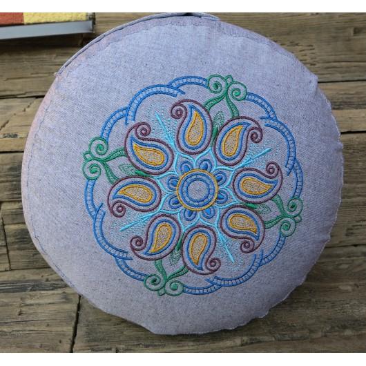 zafu - pohankový sedák - meditační polštář šedý, modrá/zelená/zlatá/bordó,  vyšívaný, průměr 30cm