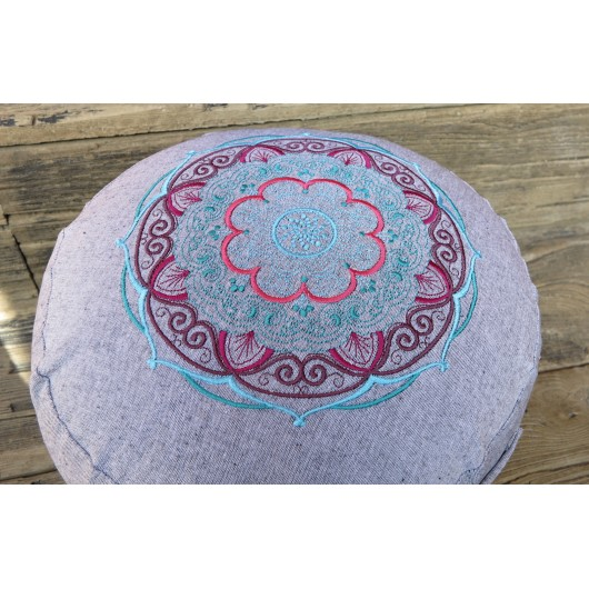 zafu - pohankový sedák - meditační polštář šedý, blankytná/bordó/růžová,  vyšívaný, průměr 30cm