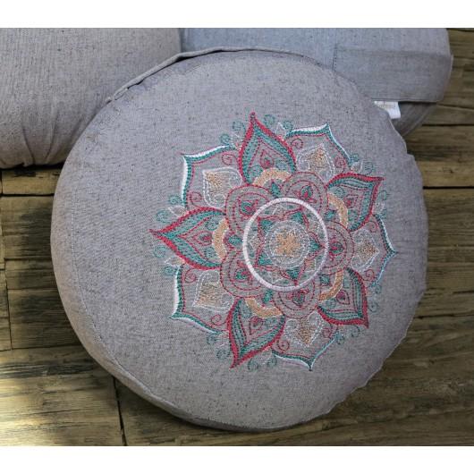 zafu - pohankový sedák - meditační polštář šedý, blankytná/bílá/růžová,  vyšívaný, průměr 30cm