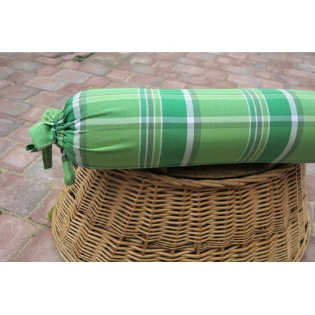 Pohankový polštář válec 50 x 15cm kanafas zelenobílá mřížka