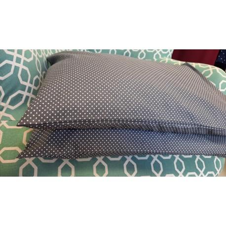 Pohankový polštář VELKÝ 50x35cm šedý s puntíky