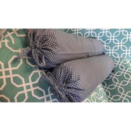 Pohankový polštář válec 50 x 15cm šedý s puntíky