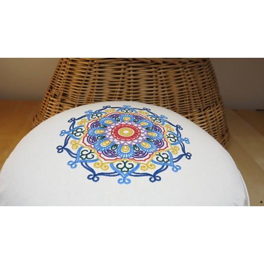 zafu - pohankový sedák - meditační polštář režný s vyšívanou mandalou domodra 40cm