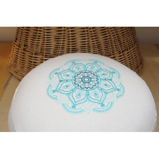 zafu - pohankový sedák - meditační polštář režný s vyšívanou mandalou tyrkysový 40cm